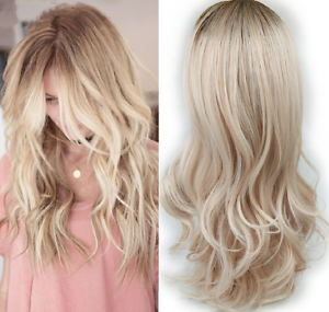 Natural Wavy Highlights Blonde Ombre Light Ash Platinum Full Women