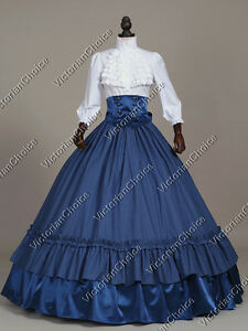 Victorian Old West Civil War 3-PC Plaid Dress Gown Theater Period ...