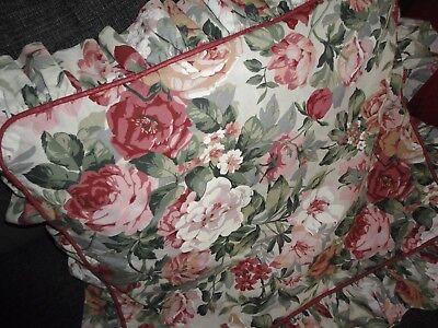 CROSCILL ARBOR ROSE RUFFLED FLORAL PINK GREEN  (1) STANDARD PILLOW SHAM 19 X 25