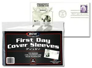 First-Day-Cover-Sleeves-Ultra-Thin-FDC-100-Units-3-15-16-X-6-7-8-BCW-New-Free-SH