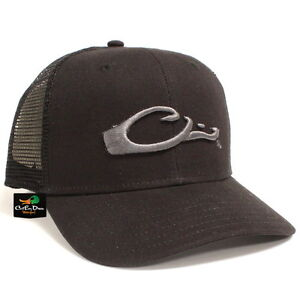 883246c8497 DRAKE WATERFOWL MESH BACK FLAT BILL BALL CAP SNAPBACK HAT BLACK ...
