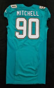 90-Earl-Mitchell-of-Dolphins-NFL-Locker-Room-Game-Issued-Jersey-w-50th-Patch