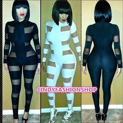 Womens Ladies Mesh Long Sleeve Bodycon Jumpsuit&Romper Long Trousers Clubwear US
