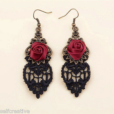 Handmade Lolita Red Flower Rose Black Drop Lace Dangle Gothic Alloy Earrings