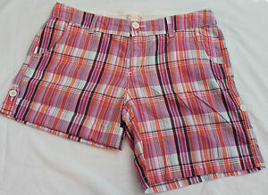 Red-Camel-Junior-Girls-Sz-11-Plaid-Multi-Color-100-Cotton-Casual-Shorts-flat