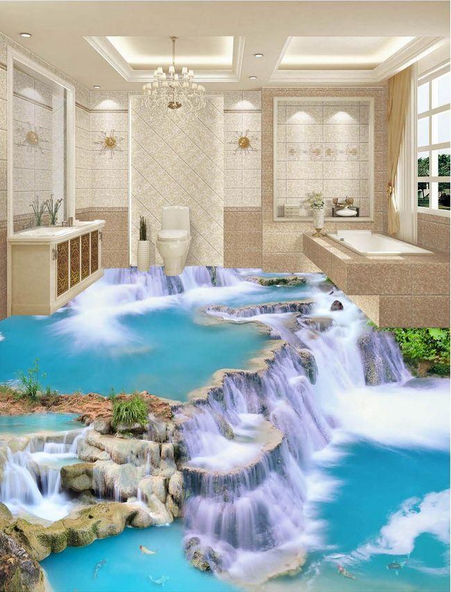 Agua de piedra de peces 3D 5135 Papel Pintado Mural Parojo Calcomanía de impresión de piso 5D AJ Wallpaper