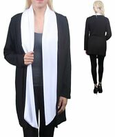 Women's Plus Size Black White Open Cardigan Sizes 1x 2x 3x (made In Usa)