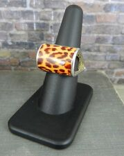 Signed B Italy Sterling Silver Modern Leopard Print Enamel Ring - Size 8