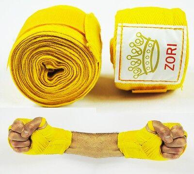 100% Cotone Mano Wraps [ Giallo ] Per La Boxe Mma Muay Thai Bende (coppia) - Nuovo- Ricco Di Splendore Poetico E Pittorico
