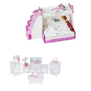 1/12 Dollhouse Miniature TV Cabinet Set & Bunk Bed Living Room/Bedroom Decor
