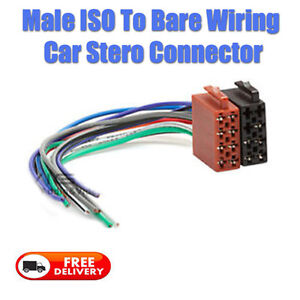 male iso to bare end wiring harness connector stereo radio adaptor image is loading male iso to bare end wiring harness connector