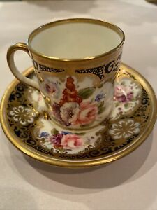 Antique Allertons English Porcelain Demitasse Cup and Saucer Hand painted.