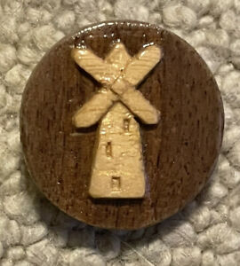 Wood Studio button of a Windmill, Signed, R J G,  94