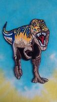 Dinosaur Blue & Brown T-rex 3.75 Inch Iron On Patch