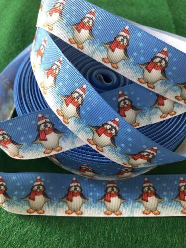 NEUF 26 mm 1 mètre de neige Pingouin Design des personnages Gros-Grain Ruban