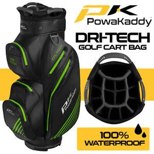 PowaKaddy-Dri-Tech-14-WAY-Waterproof-Golf-Cart-Bag-Black-Gun-Lime-NEW-2020