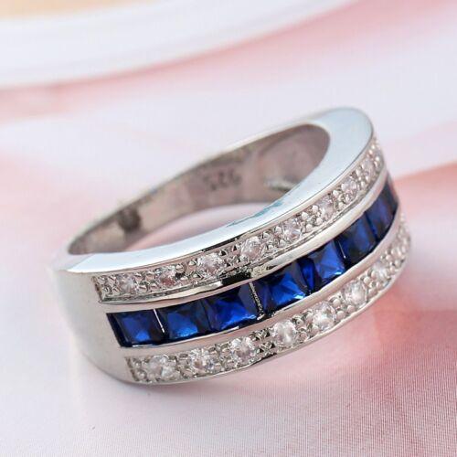 Rouge//Bleu Coupe de Princesse Mariage Bande Femme argent 925 AAA CZ Cadeau Anneau Taille 6-10