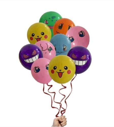 BALLOONS AND CUP CAKE TOPPERS 26 PCS POKEMON BIRTHDAY PARTY LOT