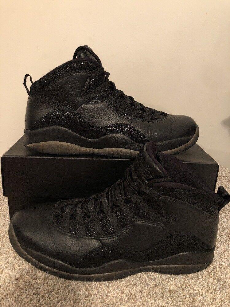 Nike air jordan 10 retrò ovo triplo nero stile taglia 12 drake