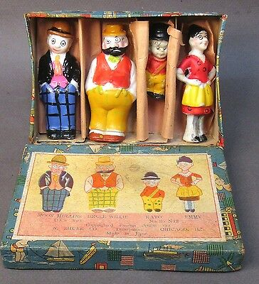 1930's MOON MULLINS BOXED SET Comic character Japanese bisque figures