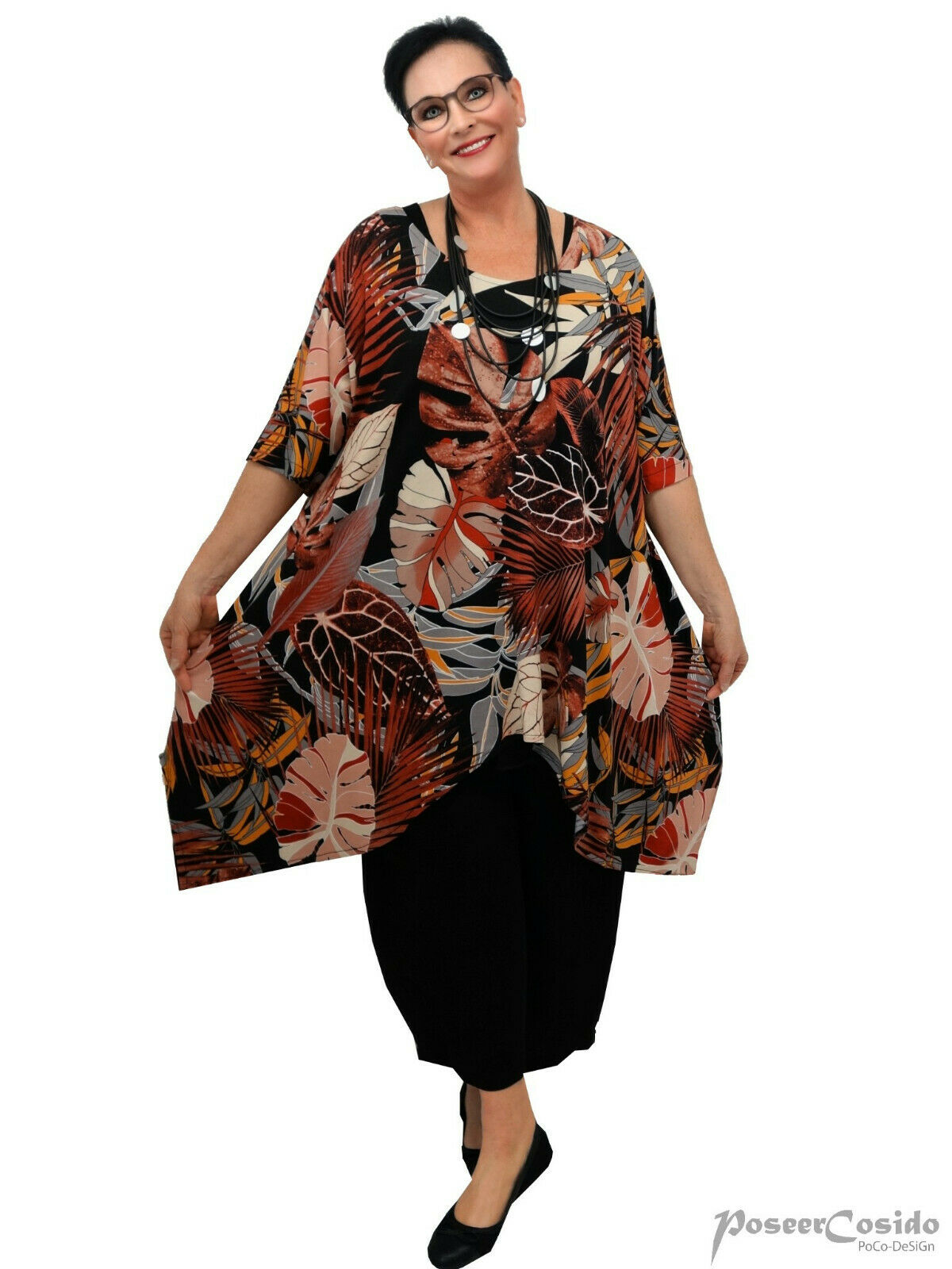 PoCo LAGENLOOK Tunika Long-Shirt terra  44 46 48 50 52 54 56 58 L-XL-XXL-XXXL
