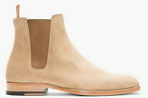 New-Pure-Handmade-Custom-Mens-Beige-Chelsea-Suede-Leather-Boots-in-Leather-Sole
