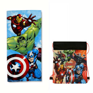 MARVEL-AVENGERS-Kids-Bath-Beach-Towel-Cotton-28-034-X-58-034-Sling-Bag-Hulk-Iron-Man