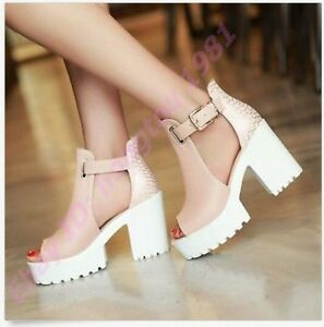 Fashion-Womens-Chunky-Heels-Platform-Peep-Toes-Sweet-Preppy-Sandals-Shoes-Pumps