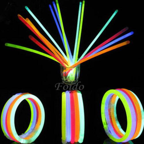 """200 x 8"""" GLOW STICKS BRACELETS NECKLACES NEON COLOURS PARTY FAVORS RAVE DISCO"""
