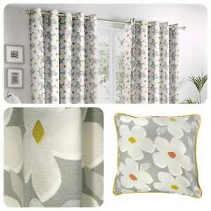 Fusion-AURA-Grey-Daisy-Floral-100-Cotton-Eyelet-Curtains-amp-Cushions