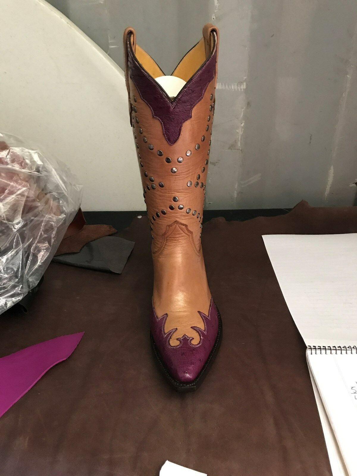 New Women's Brown Purple Bull Hide Cowboy Boots