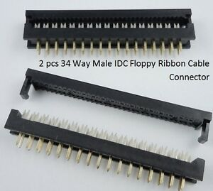 PCB-mount-Floppy-ribbon-cable-IDC-MALE-connector-34-way-pack-of-2