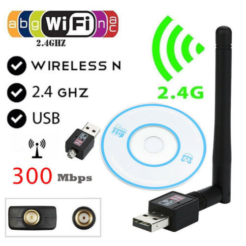 Mini 300Mbps USB WiFi Wireless Adapter Dongle LAN Card 802.11n//g//b w//Antenna TDO