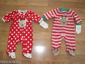 3ba52bdde846 CARTERS INFANT~BABY~CHRISTMAS REINDEER SOFT FLEECE SLEEPER~NEWBORN ...
