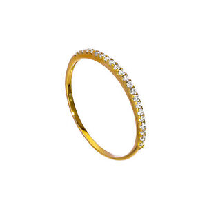 Real-375-9ct-Gold-amp-Clear-CZ-Crystal-Half-Eternity-Stacking-Ring-Size-I-U