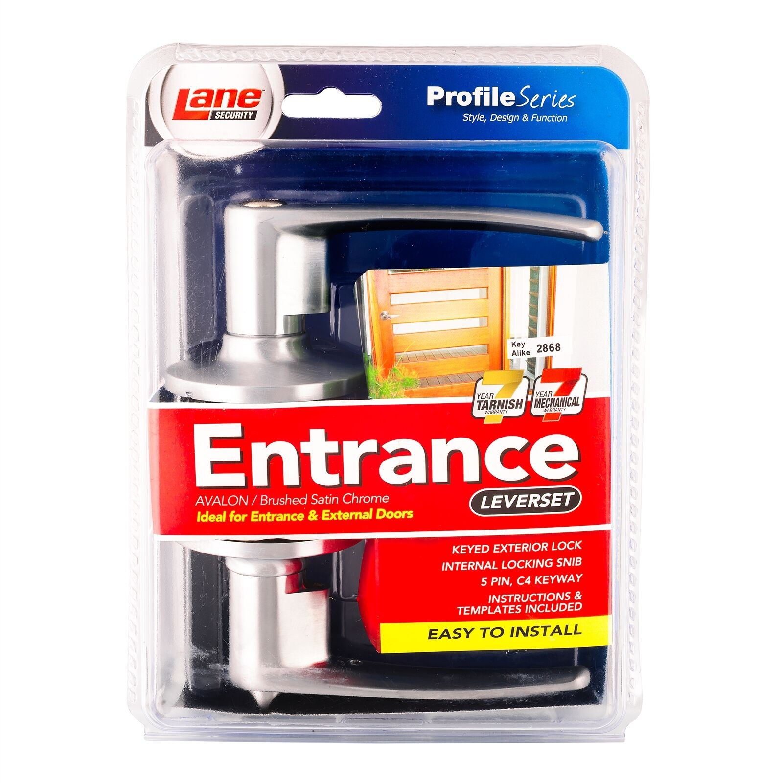 Lane DOOR ENTRY LEVERSET 5 Pin C4 Keyway- Satin Chrome Plated Or Polished Chrome