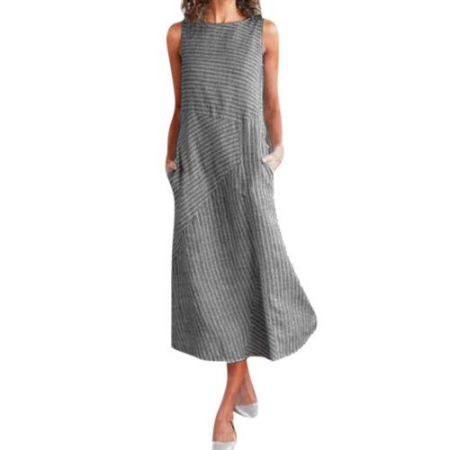 Women Lady Fashion Casual Stripe Sleeveless Linen Pocket Beach Midi Dress Kaftan