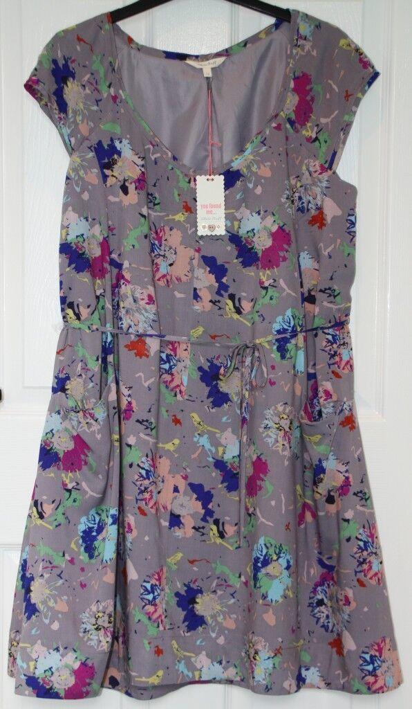 BNWT .95 White Stuff ENTICE Grey & Multicolour Tie Sash Dress -