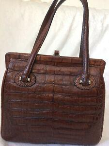 Edle-JAGUAR-Tasche-Handtasche-Echtleder-Kroko-Optik-Braun-Bag-Vintage