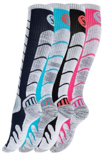 2 Paar Damen Ski /& Snowboard Socken Winter Kniestrümpfe Skifahren Wintersport