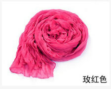 Womens Candy Colors Wrinkle Cotton Blend Girl Scarf Wrap Shawl Rosered color111