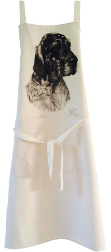 English Setter MS Dog Natural Cotton Apron Double Pocket UK Made Baker Cook Gift