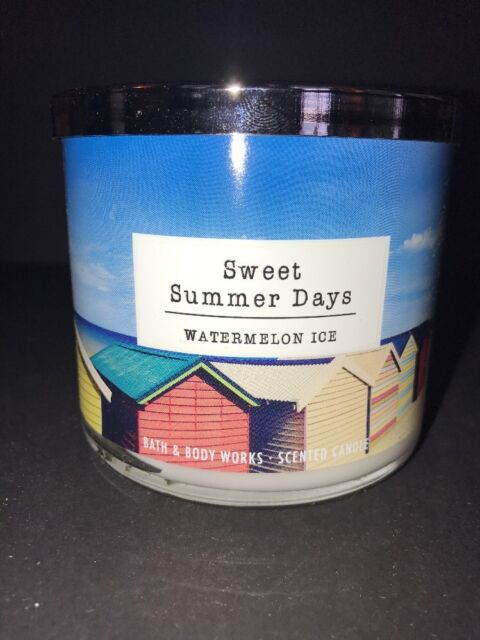 BATH & BODY WORKS SWEET SUMMER DAYS WATERMELON ICE CANDLE 3 WICK 14 5OZ  LARGE