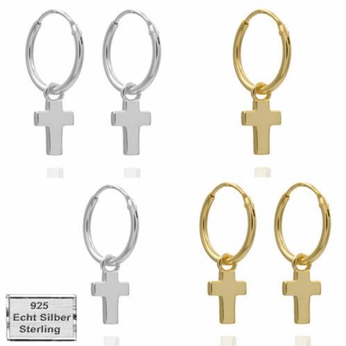 Creolen Anhänger Kreuz Silber 925 Damen Herren Ohrringe Kreolen Echtschmuck Gold