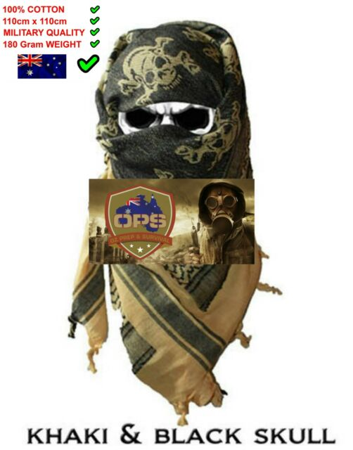 Shemagh Military Head Covering Tactical Desert Scarf Khaki and Black Skull