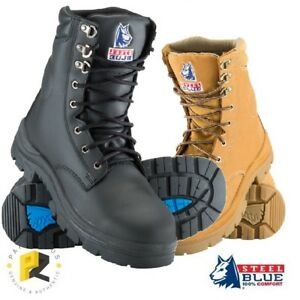 048a1621b33 Steel Blue Portland Mens Work Boots Safety Toe Cap High Ankle 312104 ...