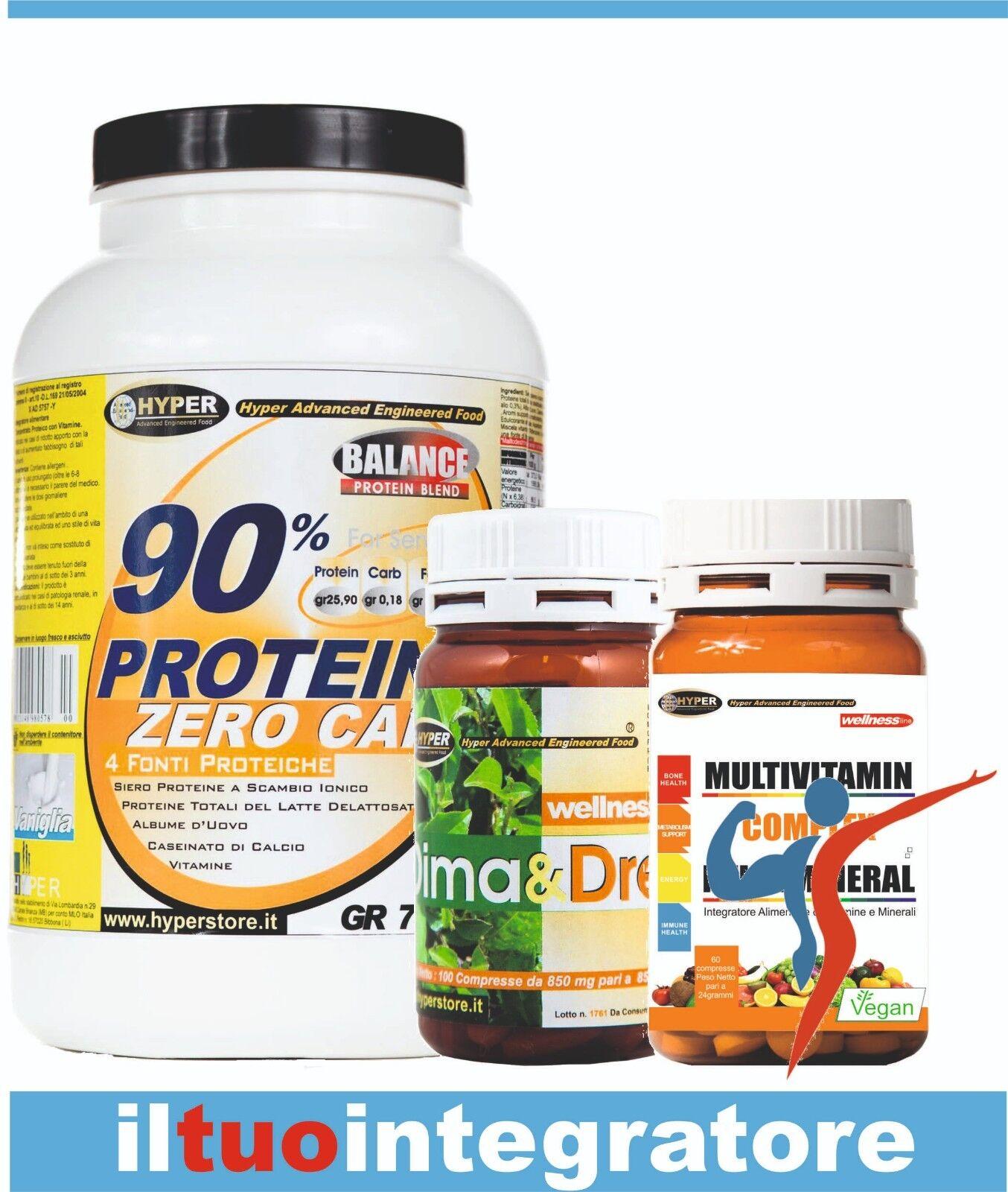Kit Proteine dieta senza sondino gr750 Cacao + Dimagrante + Vitamine  Dimagrire