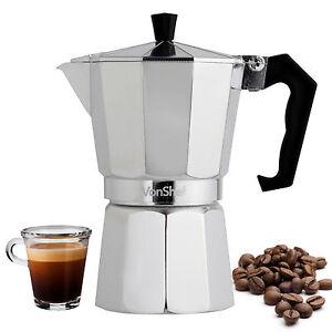 Image Is Loading VonShef Italian Espresso Moka Coffee Maker Percolator Stove