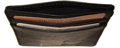 Black Genuine Leather Men/'s Thin Wallet 4 Slots Credit Card Holder