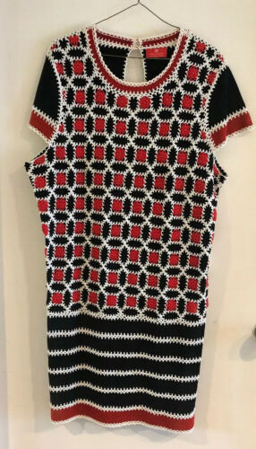 Rena Lange Multicolor Cotton Crochet Knitted Dress
